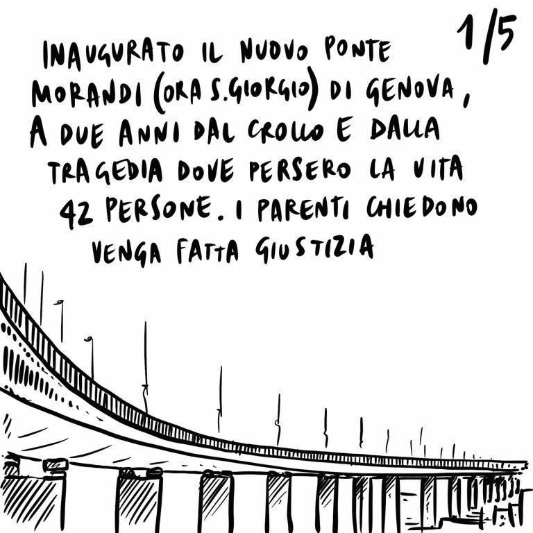 4.08.2020 Inaugurato il nuovo ponte San Giorgio a Genova, divisioni interne alla Lega, proteste per i diritti dei lavoratori in Francia.