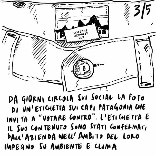 20.09.2020 Morta Ruth Baderv Ginzburg, etichetta a favore della lotta al cambiamento climatico sui capi Patagonia, l'estate 2020 è la più calda di sempre.