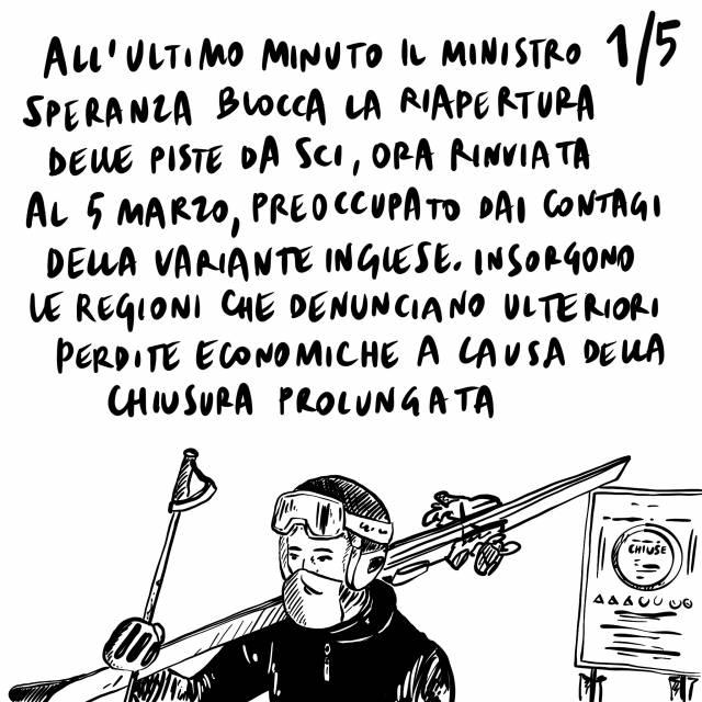 15.2.2021 Tra proteste delle regioni la riapertura degli impianti da scii è rinviata, cominciano le vaccinazioni degli ultraottantenni, gli Indipendentisti vincono le regionali in Catalogna.