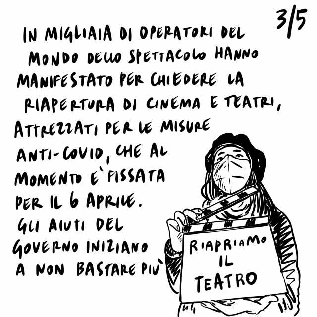 24.2.2021 No alla riapertura di palestre e teatri, hanno chiuso il 2% dei negozi a causa della crisi, manifestazioni degli operatori dello spettacolo.