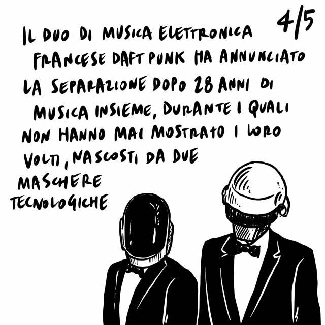 23.2.2021 Uccisi Attanasio e il carabiniere di scorta Iacobacci, confermato il divieto di spostamento tra regioni fino al 27 marzo, si separano i Daft Punk dopo 28 anni di musica insieme.